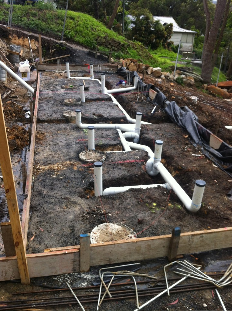 ordinary new home plumbing #4: ... New drainage system for a new home, pre-slab